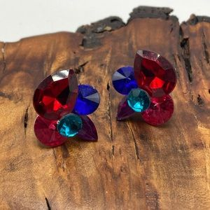 Vintage abstract acrylic jewels queen stud 80s 90s